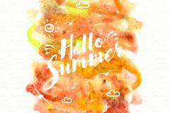 你好夏季橙色水彩海报矢量图
