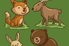 4款卡通笑脸森林动物矢量图