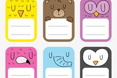 6款彩色闭眼动物标签矢量素材