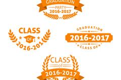 4款橙色校园派对标签矢量素材