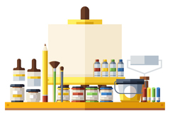 扁平化摆满绘画工具的桌子矢量图