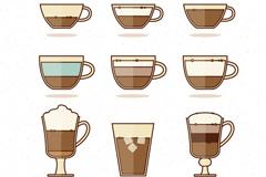 9款扁平化美味咖啡矢量素材