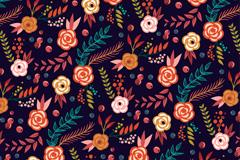 彩绘花卉和叶子无缝背景矢量图