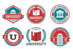 9款创意大学校园标签矢量图