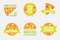9款橙色披萨标签矢量素材