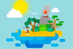 创意孤岛火山风景矢量素材