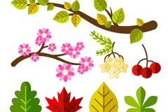 8款扁平化花枝与叶子设计矢量图