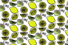 彩绘柠檬无缝背景矢量素材