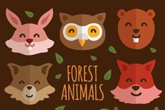 8款可爱笑脸森林动物头像矢量图