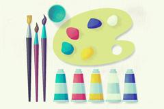 10款水彩绘绘画工具矢量优发娱乐