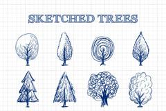 12款手绘树木草图矢量素材