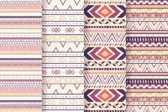 4款彩色部落民族花纹无缝背景矢