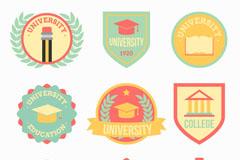 9款彩色大学校园标签矢量图