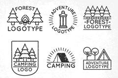 8款创意森林野营标志矢量梦之城娱乐