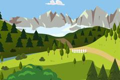 夏季绿色山地风景矢量素材