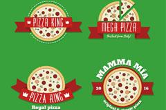 4款创意披萨标签矢量素材