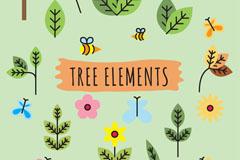 22款树叶花朵蝴蝶和蜜蜂矢量图