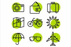 9款绿色旅行细线图标矢量图