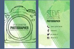 手绘照相机摄影师名片矢量图