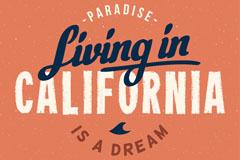 创意加利福尼亚度假艺术字矢量图