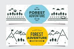 3款手绘森林探险banner矢量图