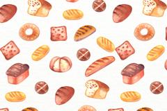 水彩绘面包无缝背景矢量图