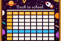 彩色太空元素校园课程表矢量图