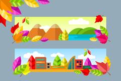 3款秋季自然风景banner矢量图