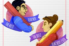 2款彩绘校园教师侧脸矢量图