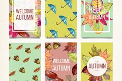 6款彩绘秋季元素卡片矢量图