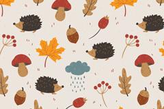 可爱刺猬和叶子蘑菇无缝背景矢量图