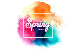 混色水彩墨迹春天来了艺术字矢量素材