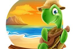 夏季海滩弹尤克里里的海龟矢量图
