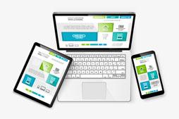 3款时尚电子产品上展示的商务网站矢量图