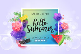 彩色花卉装饰夏季促销卡片矢量图