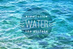 夏季蓝色波浪海面矢量素材