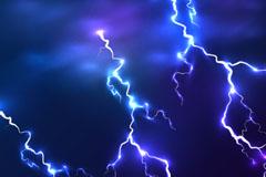 阴暗天空蓝色雷电矢量素材