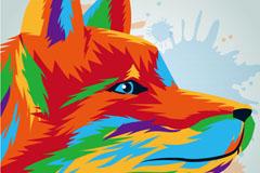 彩绘狐狸侧脸头像设计矢量图