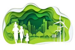 绿色生态城市和家庭剪影矢量图