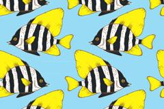 彩绘珊瑚鱼无缝背景矢量图