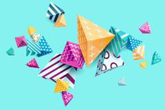 彩色花纹立体三角矢量素材
