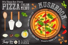 美味意大利披萨菜单设计矢量图
