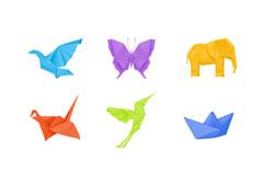 6款彩色折纸小动物设计矢量素材