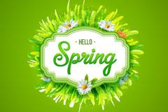 你好春季花草卡片矢量素材