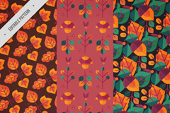 3款彩绘秋季树叶无缝背景矢量图