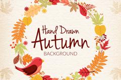 手绘秋季元素花环和小鸟矢量素材