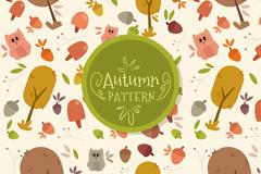 可爱秋季元素无缝背景矢量图