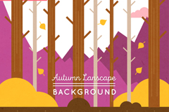 秋季掉光叶子的树木矢量素材