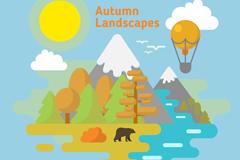 秋季雪山自然风景矢量素材