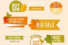 10款精致秋季促销标签与贴纸矢量图